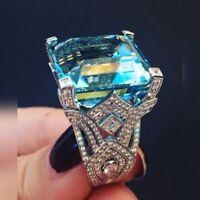 Elegant Women Princess Aquamarine Ring Vintage 925 Silver Turkish Jewelry # 6-10