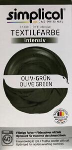 """Simplicol Textilfarbe intensiv all in 1 -Flüssige Rezeptur """"Oliv Grün"""" Neu!"""