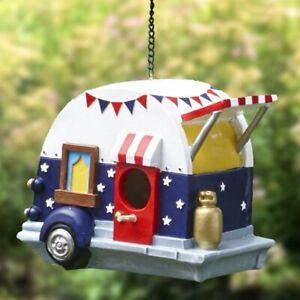 Vintage Camper Hanging Bird House Patriotic Americana Stars Stripes Ceramic