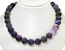 Wunderschöne Edelsteinkette aus Achat sandstrahlend in Kugelform D-16 mm Violett