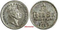 Sweden Oscar I Silver 1852/1 AG 1/32 Riksdaler OVERDATE Mintage-480,000 KM# 681