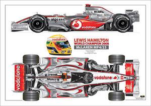 2008  Lewis Hamilton World champ McLaren MP4/23  ltd ed. print  signed by artist