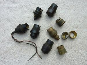 Vintage Lot of Genuine Vintage Bakelite & Brass Lamp Sockets & MK Brown Plug Old