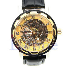 Luxury Golden  Mens Skeleton Mechanical Leather Wristwatch