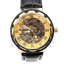Luxury Golden  Mens Skeleton Mechanical Leather Wristwatch