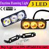 2x 3 LED Car DRL Daytime Running Light Day Driving Lamp Yellow Turn Signal Light