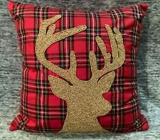 "Pier 1 Imports Christmas Beaded Gold Deer Pillow Red Plaid Tartan 20"" x 20"" NWT"