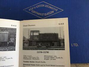 NORTH BRITISH DIESEL HYDRAULIC LOCO D2708 - D2780 OPERATING MANUAL 1960 GLASGOW
