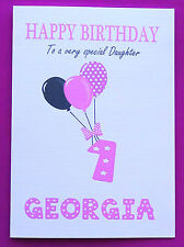 PERSONALISED 1st Birthday Card, Baby GIRL Balloons, First Birthday Card Age 1