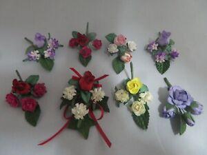 8 x Small Silk Flower Sprays Small Cake, Cards trim, Small Parcel finish (Lot1)