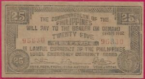 PHILIPPINES 25 CENTAVOS 1942 COMMONWEALTH OF THE PHILIPPINES,BOHOL EMERGENCY CUR