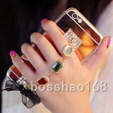 3D Girls' Mirror Bling Diamond Rhinestone Stones Tassel Phone Soft Case Cover #D