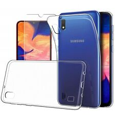 For Samsung Galaxy A10 Case Clear Slim Gel Cover & Glass Screen Protector