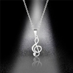 Musical Note Necklace Stainless Steel Pendant Choker Unisex Jewelry Gift Fashion