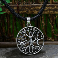 Men's Vintage Silver Norse Viking Sun/Moon&Tree of Life Pendant Necklace Amulet