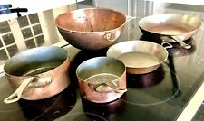 5-Piece Copper Pots, Pans, Bowl - Brass handles Made In France
