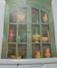 HOME SENSATIONS #8310 TROMPE L'OEIL GREEN CUPBOARD WALL DECOR MURAL 26X36 NEW
