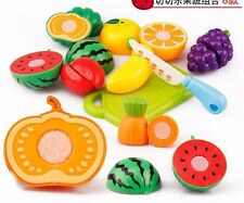 Kids Pretend Role Play Kitchen Fruit Vegetable Food Toy Cutting Child Gift S5