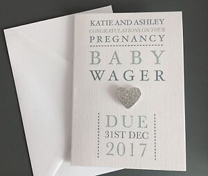 Personalised Pregnancy Congratulations Card + Colour Options Handmade Linen Card