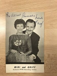Genuine personally signed Miki and Griff Photo - 9cm  X 14cm