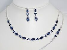 3PC Set Silver,Navy Blue Marquise Crystal Necklace,Earrings,Bracelet /18704