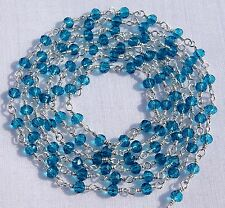 5 Feet Beautiful London Blue Topaz Hydro Silver Plated Rosary Chain For Sale Lot