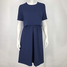 ASOS Womens 6 Dress Navy Blue Crop Top Layered Textured Stretch Pleated