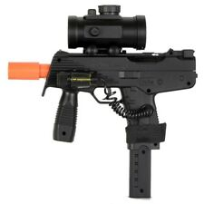 DE UZI AIRSOFT SPRING SMG PISTOL GUN w/ RED DOT SCOPE & LASER SIGHT 6mm BB BBs