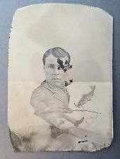 Antique Novelty Arcade Tintype Photograph Photo Of Man Fishing Pole Dog Water