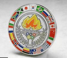 OLYMPIC PINS BADGE 2018 PYEONGCHANG SOUTH KOREA FLAG MEDALLION TORCH SILVER