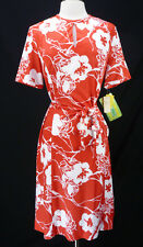 NOS Deadstock Vintage 70s Red Hawaiian Floral Belted Soft Jersey Shift Dress L