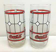 Vintage 2 Coca Cola Coke Tiffany Style Frosted Stained Glass Drinking Glasses