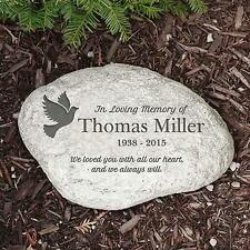 Personalized Memorial Garden Stone with Dove In Loving Memory of Sympathy Gift