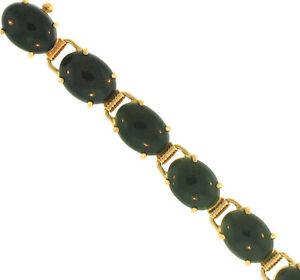 "7"" Natural Black Nephrite Jade Ovals 14K Yellow Gold Bracelet"