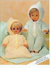 "BABY DOLLS CLOTHES 12-20"" KNITTING PATTERN DK SLEEPSUIT SLEEPING BAG BLANKET"