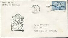 Cover Canada FIRST FLIGHT 1946 OTTAWA to CHICAGO tied with 7c Scott #C8 Stamp