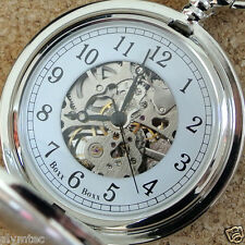 PERSONALISED FULL HUNTER MECHANICAL SKELETON POCKET WATCH ENGRAVED ANY TEXT GIFT