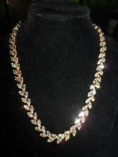 Vintage AntiqueNecklace Gold Tone Rhinestone Crystal Leaves Amber Wedding Party