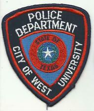 West University TEXAS TX Police patch Old