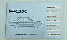 1978 Audi Fox Owners Manual Guide 1978 Book