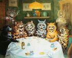 Print - Cats drinking smoking playing cards feline Louis Wain