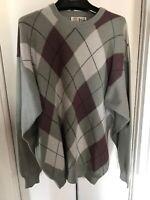 PRINGLE Men's VTG Sweater 100% Cashmere Argile Crew Neck  M. In Scotland Sz L