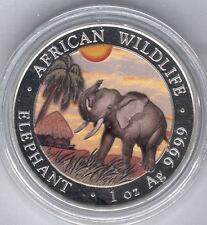 Somalia 100 Shillings 2017 Plata pura 1 onza ELEFANTE @ Relieve anverso Esmalte