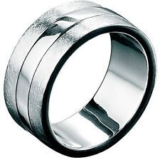 Fred Bennett 925 Scratched & Polished Sterling Silver Men's Wide Band Ring