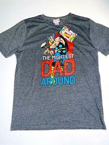 Marvel Size M Grey Thor T Shirt Mightiest Dad Around Short Sleeve Crew Neck