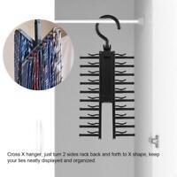 Adjustable Cross X Tie Rack Hanger Non-Slip Belt Compact Closet Holder Organize