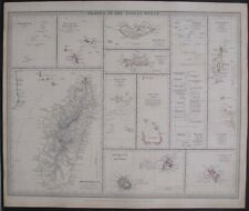 1844 MAP INDIAN OCEAN ISLANDS MADAGASCAR MAURITIUS MALDIVES SEYCHELLE CHAGOS ETC