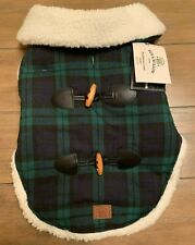 Bee & Willow Home Plaid Sherpa Medium Dog Coat in Blue Green