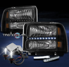 2005 2006 2007 FORD F250 F350 F450 SD LED HEADLIGHT LAMP BLACK W/DRL KIT+6K HID