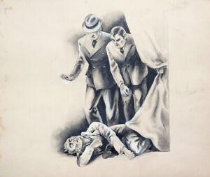 Roman policier Dessin original de Marcel BLOCH illustration de 1936